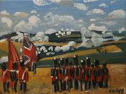"""""""Britische Infanterie bei Quatre Bras 1815"""", Öl auf Leinwand, 30x40 cm, 2019;  F. N. 95 - (2019: 21)"""