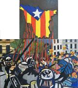 """Triptychon """"Katalanisches Tryptichon"""", Öl auf Leinwand, 50x40 / 50x40 cm / 40x40 cm, 2017"""