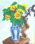 NICHT MEHR ERHÄLTLICH, Blühende Sonnenblumen auf Stuhl, 2005