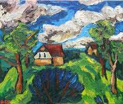 """NICHT MEHR ERHÄLTLICH, """"Sommerwind"""" (Wolkenstimmung über dem Alten Mühlweg), 75x90 cm, Sommer 2008"""