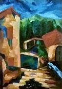 Villa in Serra di Rapolano, Öl auf Hartfaserplatte, 70x50 cm, 2004