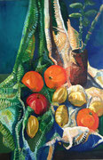 Stillleben mit Früchten und Vase, 90x60 cm, 2004