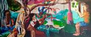 """Matthias Laurenz Gräff, Ölgemälde """"Triptychon Einklang aller Naturlebewesen"""", 140x100cm/140x140cm/140x100cm, (2005/06)"""