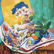 NICHT MEHR ERHÄLTLICH, Früchtestillleben mit Clown vor gelbem Spiegel, 100x100 cm, 2006