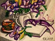 """NICHT MEHR ERHÄLTLICH (""""VERSCHOLLEN"""") """"Gedeckter Tisch mit Lilien und Lektüre"""", Öl auf Leinwand, 30x40 cm, 2015"""