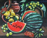 """""""Stillleben mit Melone und Birnen"""", Öl auf Leinwand, 40x50 cm, 2020;  F. N. 117 - (2020: 14)"""