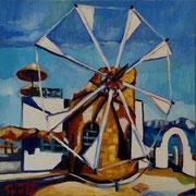 """NICHT MEHR ERHÄLTLICH, """"Windmühle in den Zykladen"""", Öl auf Leinwand, 50x50 cm, 2015"""
