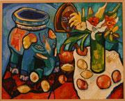 NICHT MEHR ERHÄLTLICH, Stillleben mit chinesischem Tonelephant, schwarzafrikanischer Maske, Blumen und Früchten, 80x100 cm, 2010