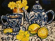 Kleines Stillleben mit Porzellan und Zitronen, Öl auf Leinwand, 30x40 cm, 2015