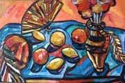 Kleines Stillleben mit Früchten, Fächer und Barett, 50x75 cm, 2009