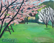 """""""Frühling im Garten"""", Öl auf Leinwand, 40x50 cm, 2017;  F. N. 15 - (2017: 15)"""
