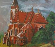 NICHT MEHR ERHÄLTLICH, Neugotische Kirche in Stockern, 75x90 cm, 2006