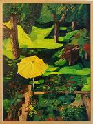 """NICHT MEHR ERHÄLTLICH, """"Blick vom Balkon in de Garten hinein"""", 80x60 cm, 2005"""