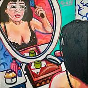 """""""Ich bin gleich fertig (die Schöne vor dem Spiegel)"""", Öl auf Leinwand, 50x50 cm, 2018"""