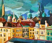 NICHT MEHR ERHÄLTLICH   Stadtbild Wien, Öl auf Hartfaserplatte, 50x60 cm, 2005