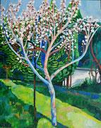 """""""Blühende(r) Wachauer Marille(nbaum)"""", Öl auf Leinwand, 100x80 cm, 2017;  F. N. 12 - (2017: 12)"""