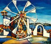 """""""Kykladische Windmühle"""", Öl auf Leinwand, 60x75 cm, 2018;   F. N. 51 - (2018: 1)"""