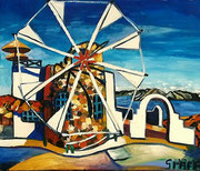 """NICHT MEHR ERHÄLTLICH   """"Kykladische Windmühle"""", Öl auf Leinwand, 60x75 cm, 2018;   F. N. 51 - (2018: 1)"""