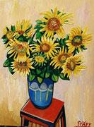 """""""Sonnenblumen in blauer Vase"""", Öl auf Leinwand, 80x60 cm, 2017;  F. N. 28 - (2017: 28)"""