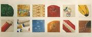 Verschiedene Oberflächen, Copic-Stife auf Papier