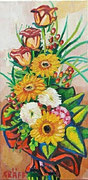 """""""Blühende Rosen mit Gerbera"""", Öl auf Leinwand, 60x30 cm, 2016"""