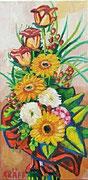 """NICHT MEHR ERHÄLTLICH   """"Blühende Rosen mit Gerbera"""", Öl auf Leinwand, 60x30 cm, 2016"""