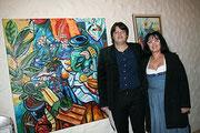 Der Künstler Matthias Laurenz Gräff mit seiner Georgia, Foto Hilda Schwameis, Bezirksblätter Horn