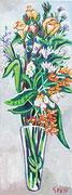 """""""Blühender Strauß in der Vase"""", Öl auf Leinwand, 80x30 cm, 2016"""