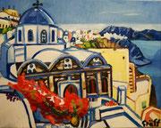 """NICHT MEHR ERHÄLTLICH   """"Blühendes Santorin"""", Öl auf Leinwand, 40x50 cm, 2015"""