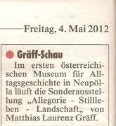 Kurzbericht in der Kronen Zeitung (Ausgabe vom 4. Mai). Presseartikel Matthias Laurenz Gräff