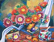 """NICHT MEHR ERHÄLTLICH   """"Chrysanthemen in der Nacht"""", Öl auf Leinwand, 40x50 cm, 2019;  F. N. 78 - (2019: 4)"""