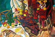 NICHT MEHR ERHÄLTLICH, Großes Stillleben mit Früchten und Harlekin, 130x90 cm, 2007
