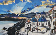 """Sonnenuntergang bei Oia, Santorin"", Öl auf Leinwand, 50x80 cm, 2016"