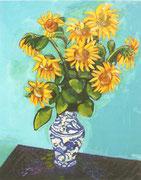NICHT MEHR ERHÄLTLICH, Sonnenblumen in weißblauer Vase, öl auf Leinwand, 100x80 cm