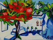 """""""Griechische Dorfstraße mit blühendem Hibiskus"""", Öl auf Leinwand, 30x40 cm, 2015"""