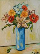 NICHT MEHR ERHÄLTLICH, Blumenstück in blauer Vase, 80x60 cm, 2011