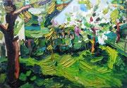 NICHT MEHR ERHÄLTLICH   Frühlingsgarten, Öl auf Hartfaserplatte, 45x65 cm, 2006