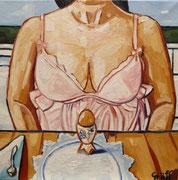 """Gemäldezyklus """"Das Ansinnen"""" - """"Die Erwartung"""", Öl auf Leinwand, 50x50 cm, 2014"""