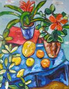 NICHT MEHR ERHÄLTLICH, Florales Stillleben mit Meloneund Hibiskus, 100x80 cm, 2009