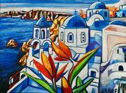 """NICHT MEHR ERHÄLTLICH   """"Floral-Leuchtendes Santorin"""", Öl auf Leinwand, 60x80 cm, 2019;  F. N. 80 - (2019: 6)"""