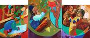 """Triptychon """"Kindheit"""", 60x50 cm / 70x60 cm / 60x50 cm, 2005"""