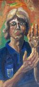 """Selbstportrait im Dress des AC Parma"", Öl auf Leinwand, 85x40 cm, 2004"