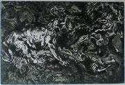 Löwenkampf nacheinem Gemälde von Delacroix