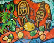 NICHT MEHR ERHÄLTLICH, Maskenstillleben mit Früchten, 80x100 cm, 2010