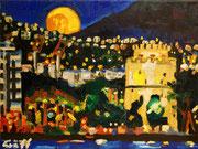 NICHT MEHR ERHÄLTLICH, Thessaloniki mit dem Weißen Turm bei Nacht, Öl auf Leinwand, 30x40 cm, 2015