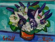 NICHT MEHR ERHÄLTLICH   Blumenstück in Violett und Weiß, 30x40 cm, 2012
