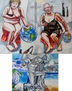 """Triptychon """"Der griechische Altar. Merkel und Schäuble als falsche Caritas"""", Öl auf Leinwand, 120x80 / 80x100 cm / 120x80 cm, 2015"""
