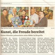 Ausstellungsbericht in den Bezirksblättern (Waldviertler) Horn (Ausgabe 20) Copyright by Hilda Schwameis