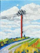"""""""Alter Strommasten bei Gars"""", Öl auf Leinwand, 30x40 cm, 2017;  F. N. 35 - (2017: 35)"""