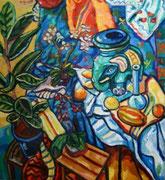 NICHT MEHR ERHÄLTLICH, Großes Stillleben mit Elephant und Muschel, 130x120cm, 2008. Dieses Bild erhielt 2010 im Rahmen der 64. Jahresausstellung des St. Pöltner Künstlerbundes im Stadtmuseum den Adolf Peschek Puplikumspreis